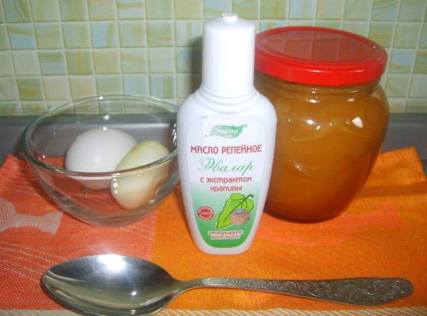 Смесь на основе репейного масла, мёда и яиц