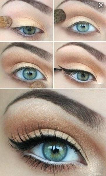 Для каре-зеленых глаз идеальна коричнево-золотая цветовая палитра