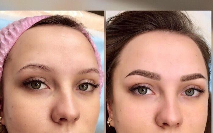 Пудровые брови, фото до и после