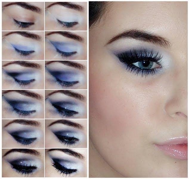 Для голубых глаз идеальна синяя и голубая палитра
