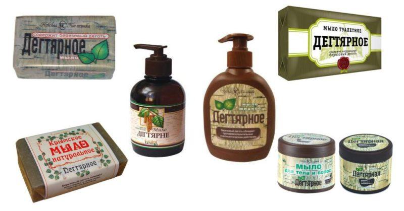 Дегтярное мыло выпускается в разных формах