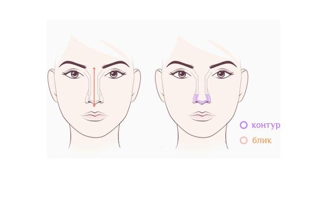 Схема коррекции длинного носа