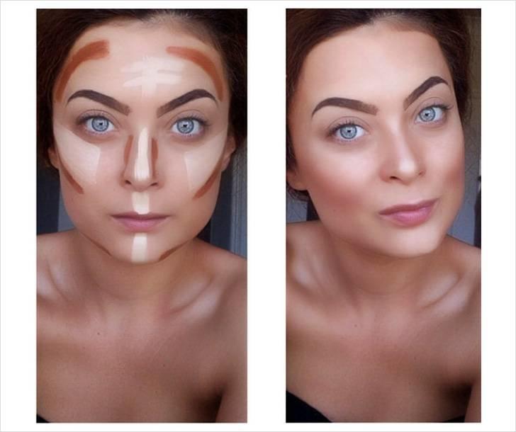 Исправление кривого носа с помощью макияжа