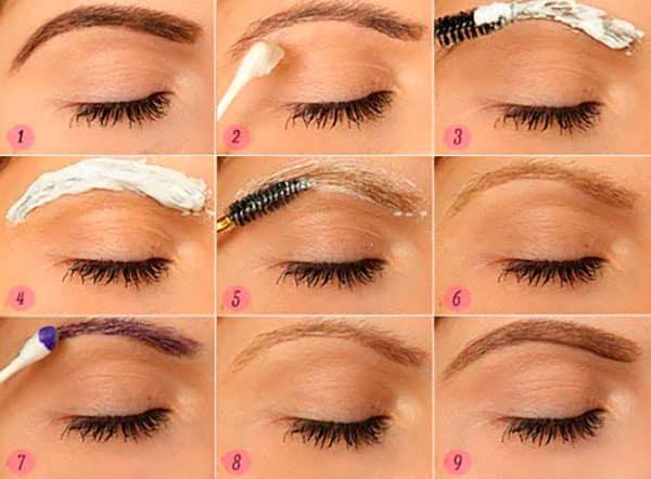 Пошаговая схема, как правильно оформить брови и покрасить хной