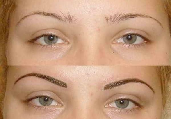 Брови до и после процедуры