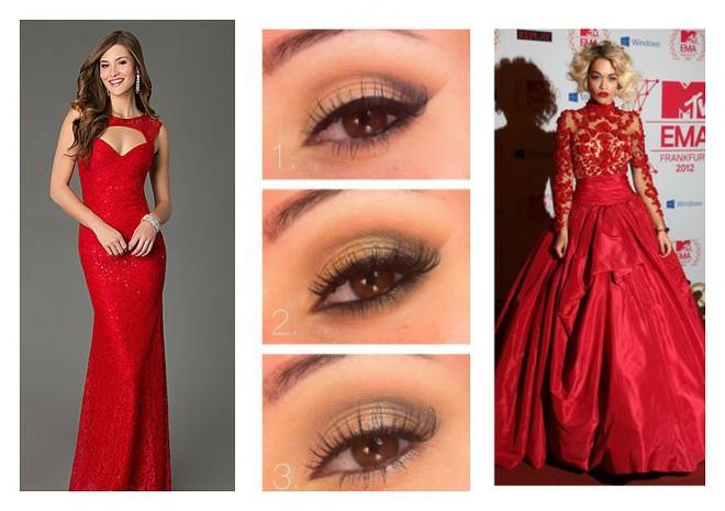 Тени под красное платье