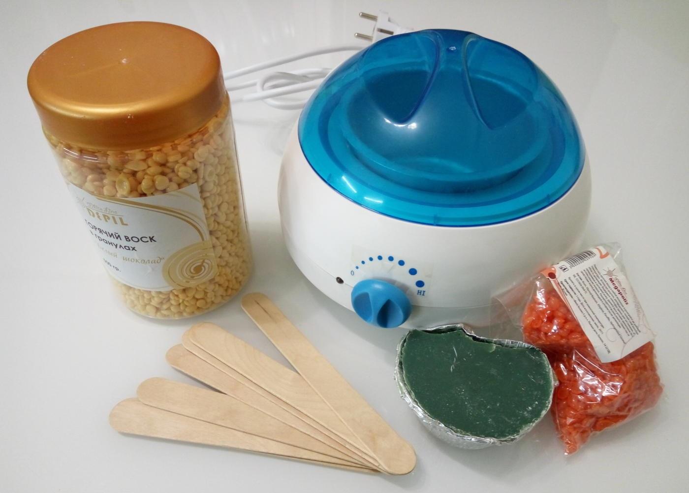 Готовые гранулы воска и приспособления для приготовления субстанции